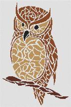 Tribal Owl monochrome cross stitch chart White Willow stitching - $7.65