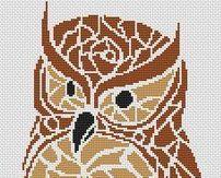 Tribal Owl monochrome cross stitch chart White Willow stitching