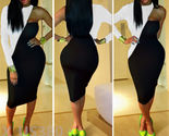 Women Sexy Bodycon  Bandage Clubwear Rompers White&Black One Sleeve Dress US 4-6