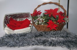 Christmas Collection of Baskets, Flowers, Linen Napkins & Silver SCARF /... - $24.75