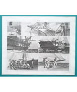 GUNSHIP Maintenance Work Hoisting Caulking Taking in Sail - 1844 Superb ... - $25.20