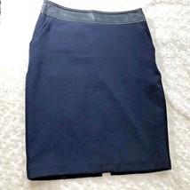Worthington Womens Sz 4 Navy Blue w Faux Leather Waist Band Lined Skirt  - $16.49
