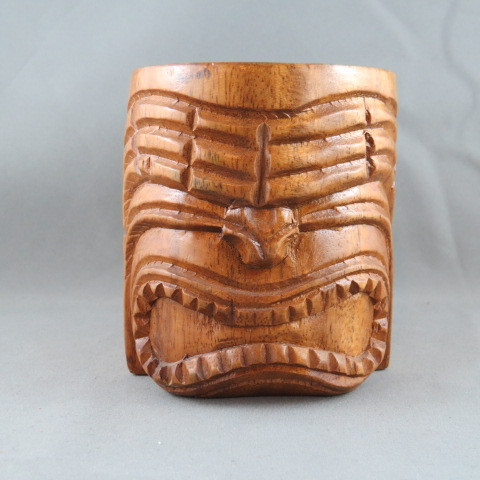 Primary image for Vintage Carved Wooden Tiki Mug - Featuring a Ku Face - Made in the Philippines