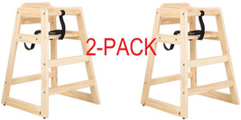 New Restaurant Style Wooden High Chair - Natural Finish 2 PACK DEAL! - $67.03