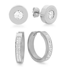 PIATELLA Ladies Set of 2 Stainless Steel 8mm stud & 20mm hoop earrings a... - $14.99