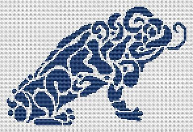 Tribal Frog monochrome cross stitch chart White Willow stitching
