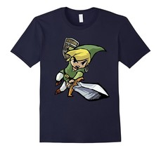 New Tee - Nintendo Zelda Young Link Cartoon Sword Leap T-Shirt Men - $19.95+