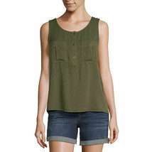 a.n.a. Women's Sleeveless Blouse Shirt X-LARGE Rich Avocado Chest Pocket... - $19.79