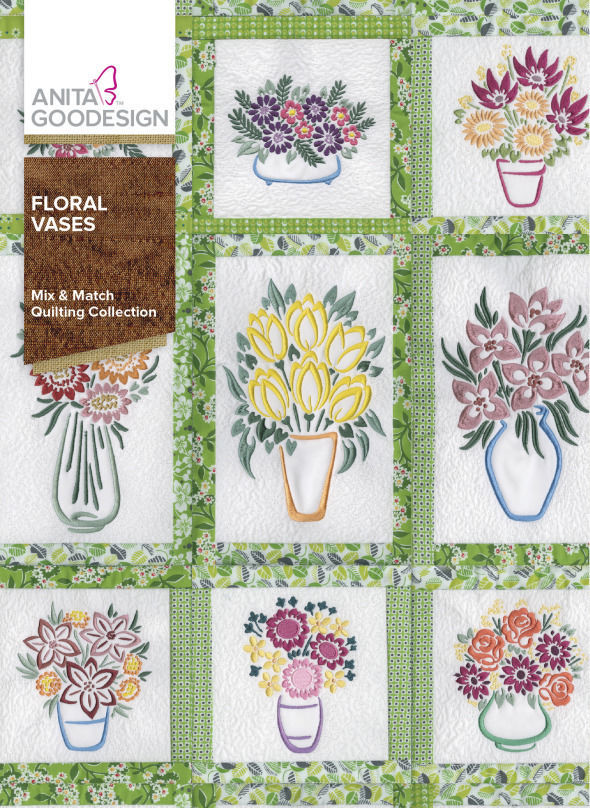 Anita Goodesign Floral Vases CD PES Format Other Sewing