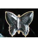 Jeannette Glass Butterfly Shaped Dish Vintage clear glass gold trim - $19.99