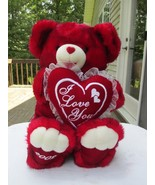Valentine's Red Bear Large Plush NWOT Large red bear holding a pillow tr... - $14.99