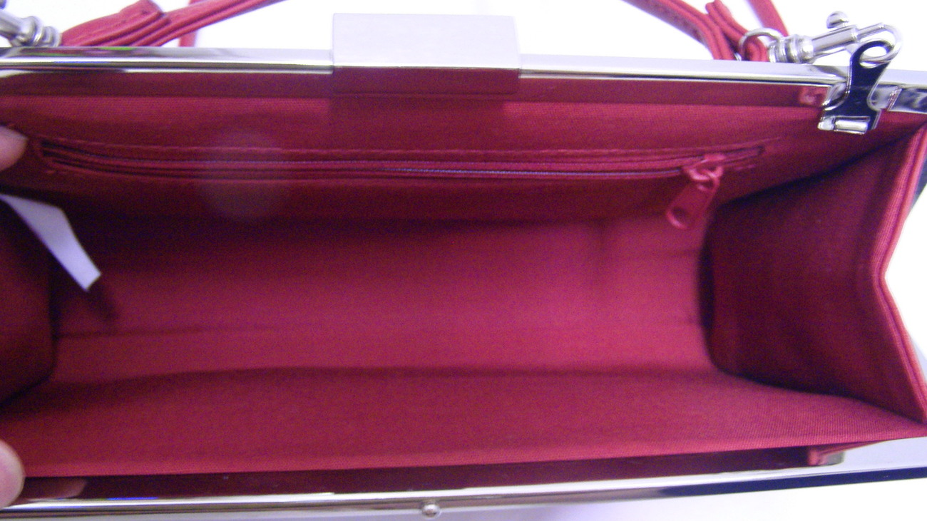 Red Soft Leather Small Evening Bag Clutch Shoulder Bag Free ship