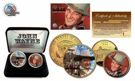 THE DUKE JOHN WAYNE 24K Gold USA 2 Coin Set Box Quarter Half Dollar Cert... - $18.50