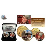 THE DUKE JOHN WAYNE 24K Gold USA 2 Coin Set Box Quarter Half Dollar Cert... - ₹1,290.94 INR