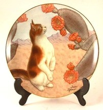 c1989 Danbury Mint cat plate - Faux Paw from Cats and Flowers collection... - $73.50