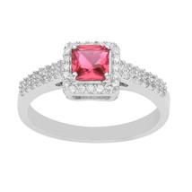 Pink Cubic Zirconia Original 925 Sterling Silver Ring Jewelry SHRI3576 - €13,53 EUR