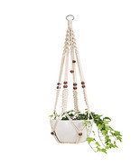 Macrame Flower Pot Planter Holder Basket Hanging Rope with Beads for Hom... - $14.00