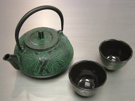 Japanese Cast Iron Teapot Kettle & 2 Cup Set, Tesubin Tea Pot Bamboo Green - $52.99