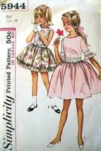Vintage Simplicity Pattern 5944 Size 10 Girl's Dress Uncut 2 Styles - $6.60