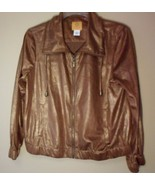 Ruby Rd  Golden Brown Reptile Print Zipper Down Jacket Petites Size 10P - $34.25