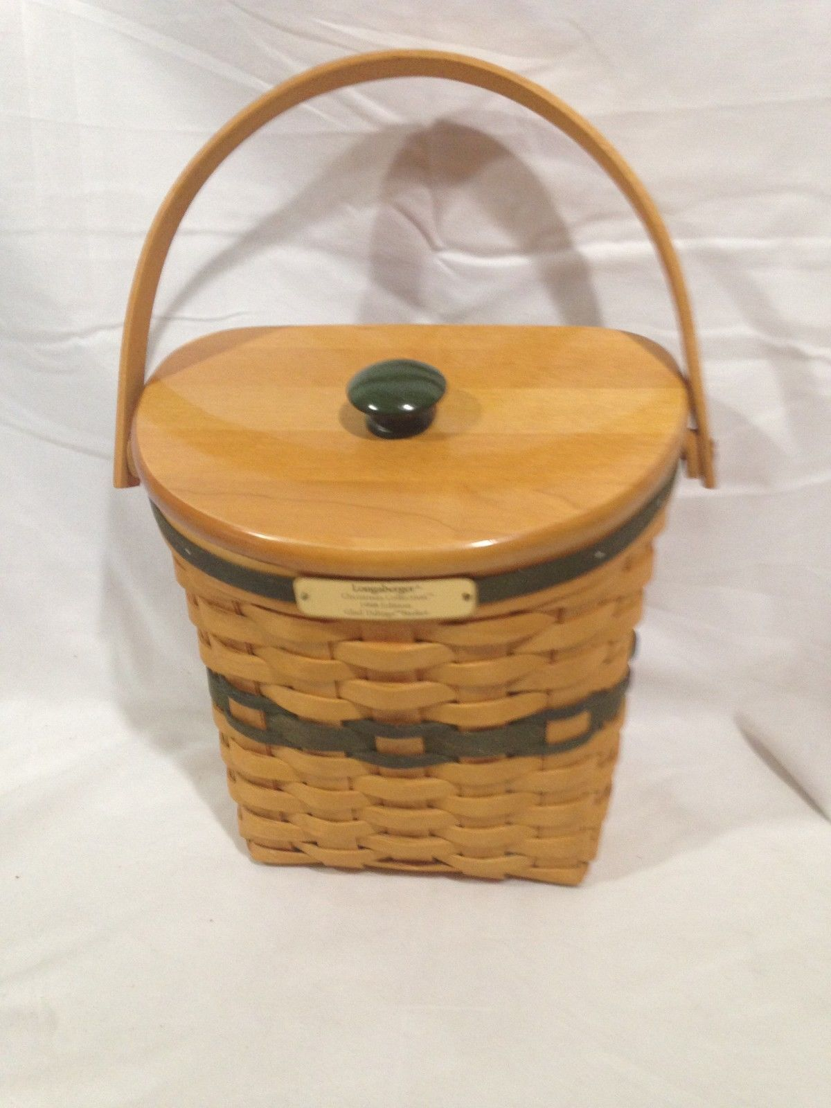 Longaberger 1998 Glad Tidings Basket w/ Lid and Protector Combo