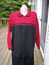 Black and Red Long Tunic Sweater  Button Front  10 buttons 2 side 4 inch... - $19.99