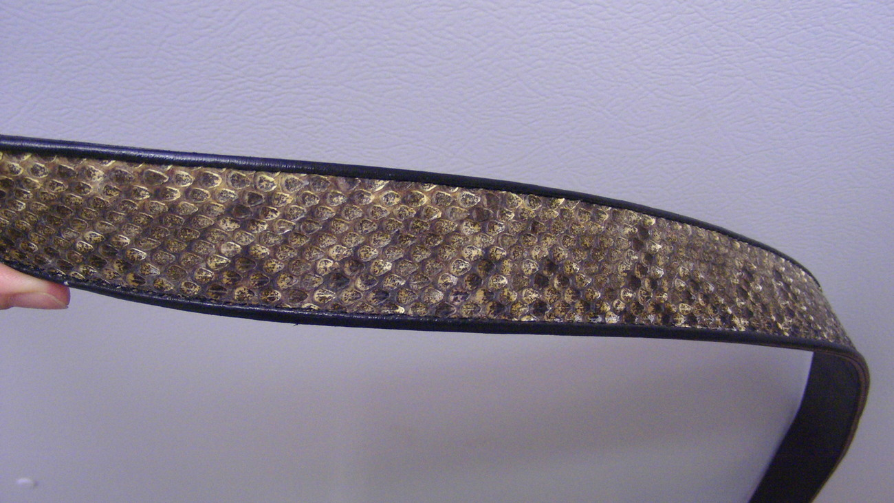 Adjustable Both Sides Genuine Rattle Snake Skin Cowhide Belt size 36 Free ship