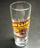 Javelina Harley Davidson Tall Shot Glass Souvenir 2003 Clear Glass Illus... - $7.99