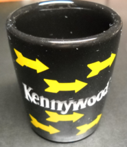 Kennywood Amusement Park Shot Glass Black Ceramic with Yellow Arrows - $6.99