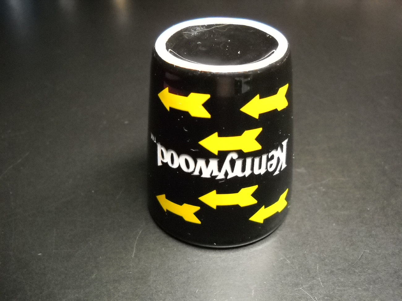 Kennywood Amusement Park Shot Glass Black Ceramic with Yellow Arrows