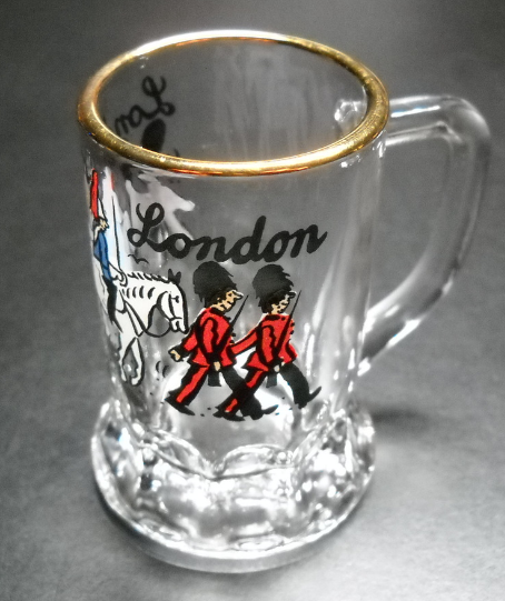 Bockling London Mug Shot Glass Souvenir Gold Band Marching Beefeaters And Horse