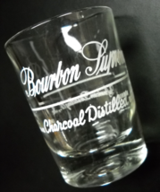 Bourbon Supreme Double Shot Glass American Distilling Hazel Atlas White on Clear - $10.99