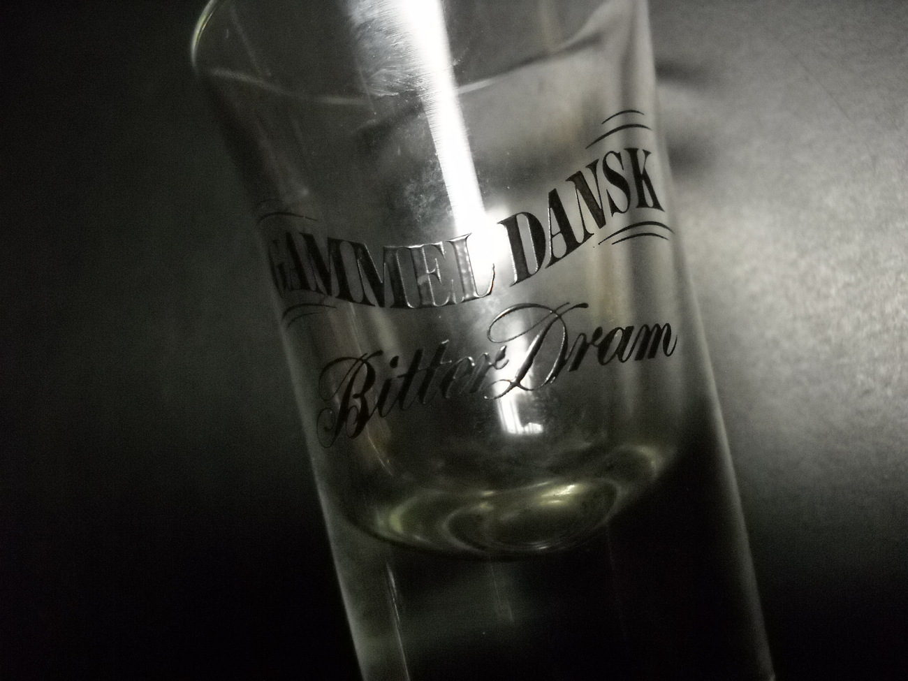 Gammel Dansk Bitter Dram Flared Shot Glass Black Print on Clear Glass - Shot Glasses