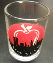 New York Candle Holder Shot Glass Big Apple Over Manhattan Skyline Red a... - $8.99