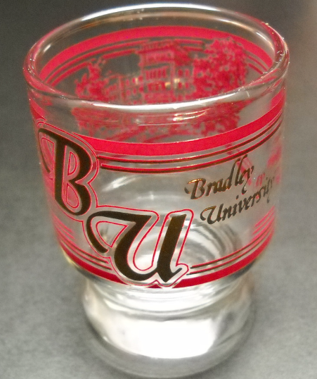Bradley University Big Top Shot Glass Bradley Hall in Reds Golds on Clear Glass