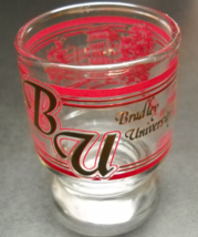 Bradley University Big Top Shot Glass Bradley Hall in Reds Golds on Clear Glass - $7.99