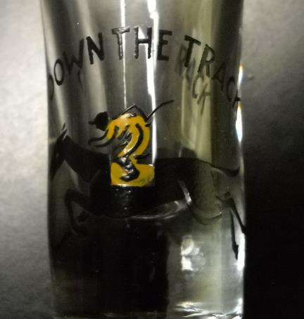 Down The Track Shot Glass Flared Style Jockey on Horse Black Yellow Illustration