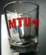 MTV NYC Shot Glass Clear Glass Red Print with Blue Music Television Logo... - $6.99