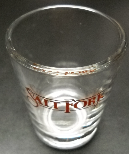 Salt Fork Shot Glass Salt Fork in Brown Cursive Print on Clear Glass