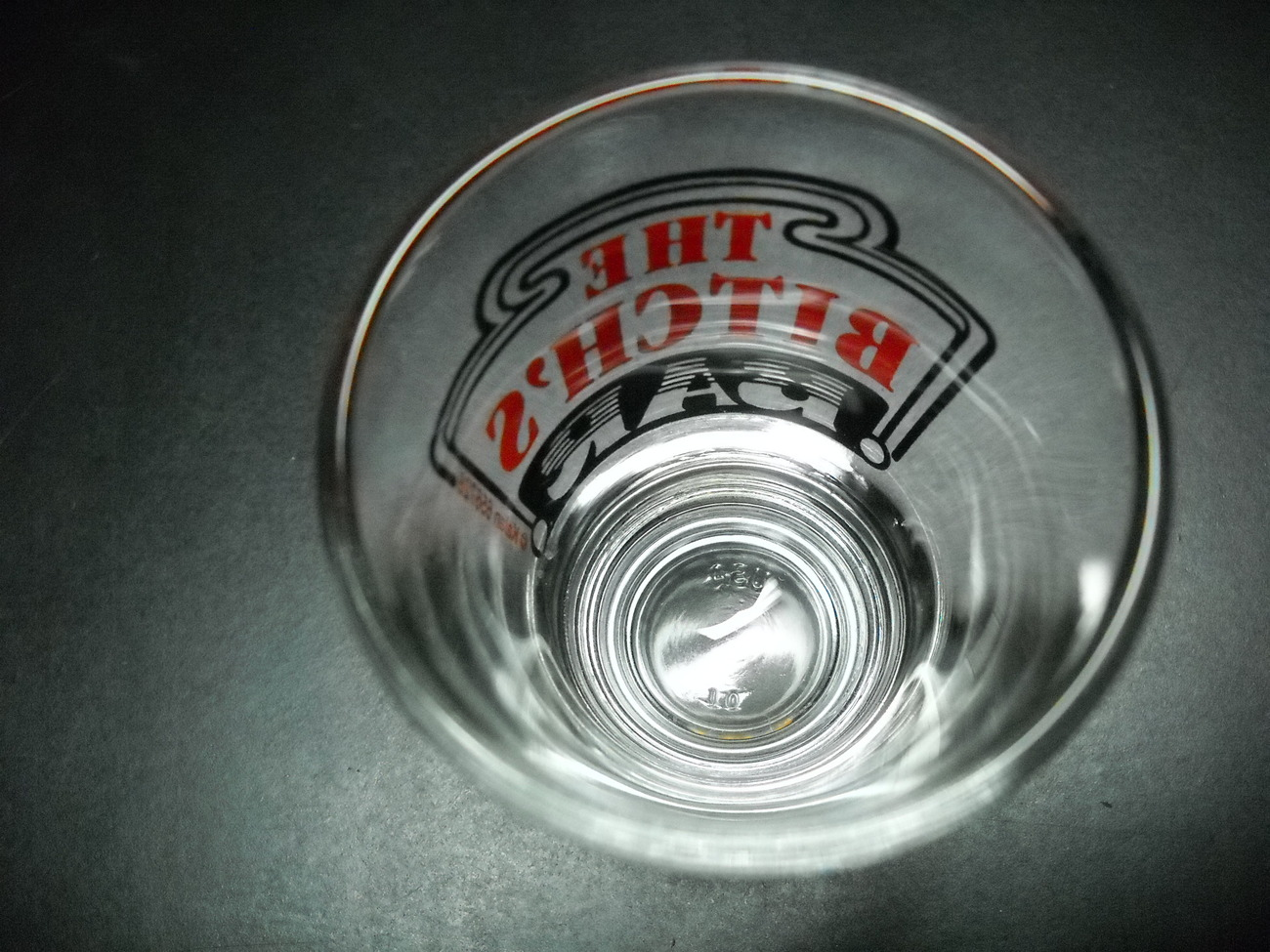 The Bitch's Bar Shot Glass Red and Black Illustration and Print on Clear Glass