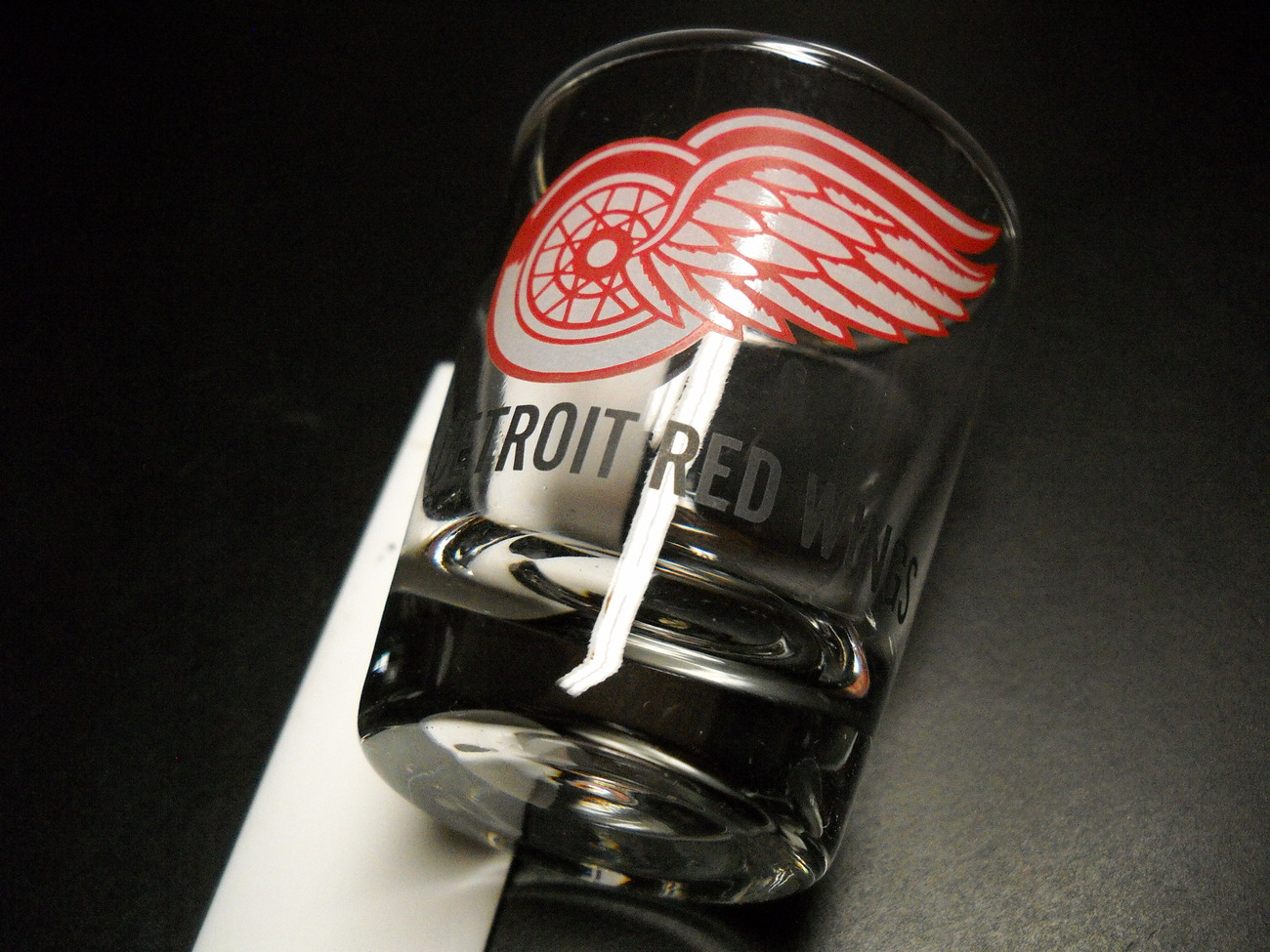 Detroit Red Wings Shot Glass Red White Print and Illustration on Clear Glass