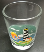 Corpus Christi Shot Glass Colorful Lighthouse Illustration on Clear Glas... - $6.99
