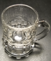 Clear Mug Shot Glass Twelve Flutes Along Base on Clear Glass Federal Markings - $7.99
