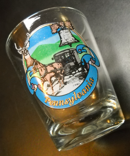 Pennsylvania Shot Glass Clear Glass Deer Hunting Amish Liberty Bell Illustration
