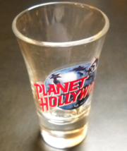 Planet Hollywood San Antonio Shot Glass Clear Flared Glass Planet Hollywood Logo - $7.99