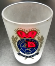 Outer Bank North Carolina Shot Glass Sun & Fun Frosted Glass Gold Blue A... - €6,00 EUR