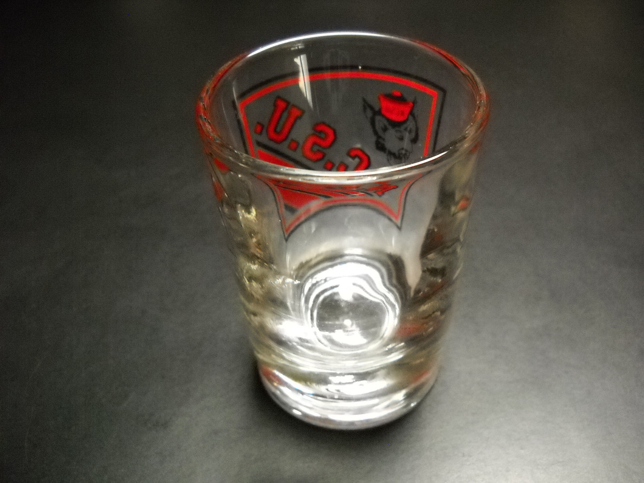 North Carolina State University NCSU Double Shot Glass Wolfpack Red on Clear