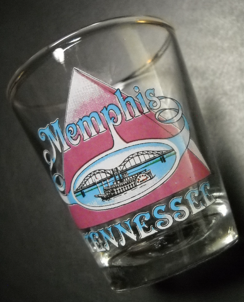 Memphis Tennessee Shot Glass Pyramid and Riverboat Scene Clear Glass Background - $6.99