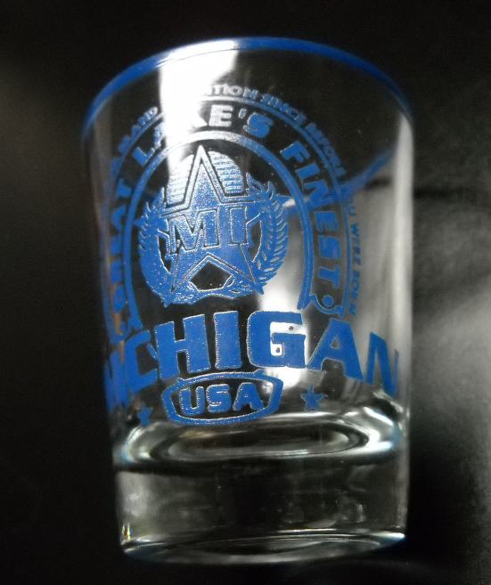 Michigan USA Shot Glass Great Lakes Finest Grand Star Brand Blue on Clear Glass