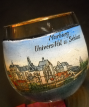 Marburg Universilat u Schloss Shot Glass Clear Glass University with Gol... - $8.99